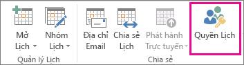 Nút Quyền Lịch trong tab Nhà của Outlook 2013