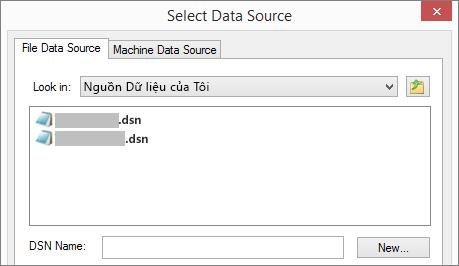 Hộp thoại Chọn Nguồn Dữ liệu