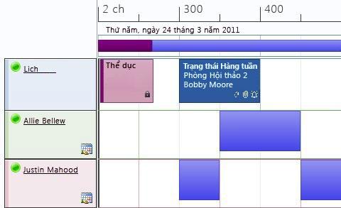 Dạng xem lịch biểu của lịch