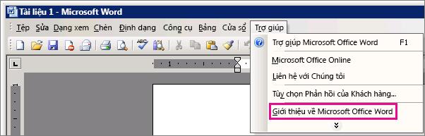 Trợ giúp > Giới thiệu về Microsoft Office Word trong Word 2003