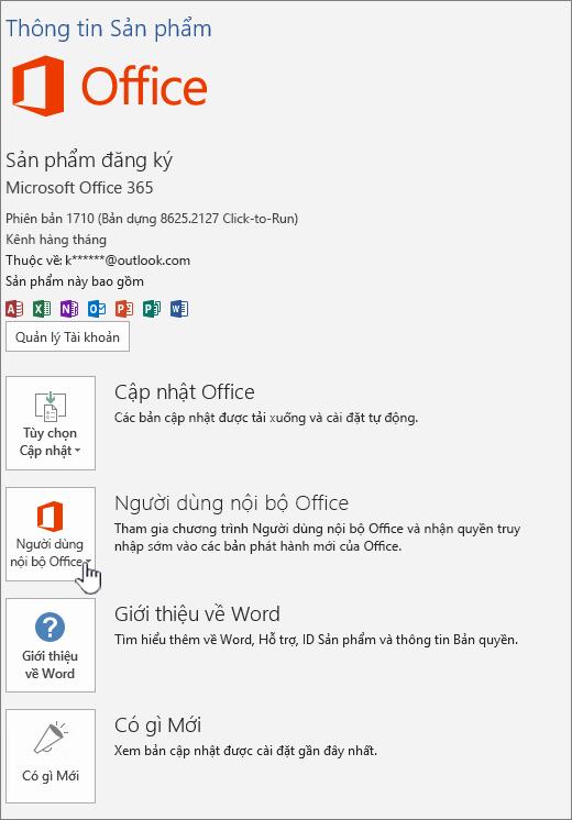 Người dùng nội bộ Office trong ứng dụng chọn tham gia.