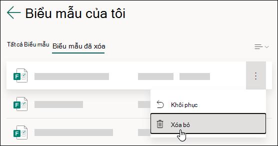 Xóa biểu mẫu trên tab biểu mẫu đã xóa của Microsoft Forms.