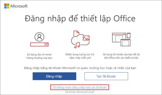 Hiển thị liên kết mà bạn bấm vào để nhập khóa sản phẩm Microsoft HUP