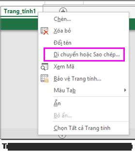 Tùy chọn sao chép trang tính sẵn dùng trong ứng dụng Excel trên máy tính