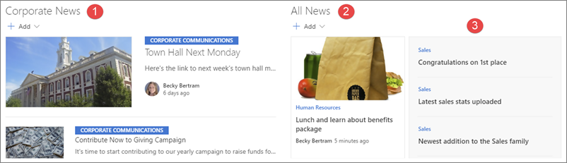 Ví dụ về tin tức trên một site Hub intranet.
