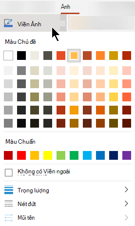 Menu viền ảnh có các tùy chọn cho màu sắc, độ dày và kiểu đường kẻ.