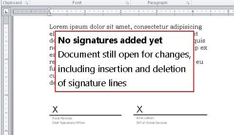Tài liệu không có chữ ký đầu tiên thì vẫn còn cho phép thay đổi