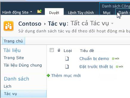 Tab Danh sách bên dưới công cụ Danh sách trong site SharePoint