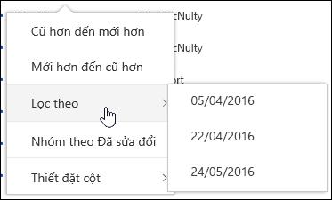 Lọc dạng xem thư viện tài liệu trong Office 365