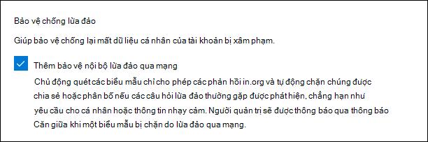 Thiết đặt quản trị Microsoft Forms cho bảo vệ chống lừa đảo