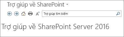 Đầu trang ngăn trợ giúp SharePoint 2016