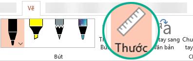 Mẫu tô Thước nằm trên tab Vẽ của dải băng trong PowerPoint 2016.