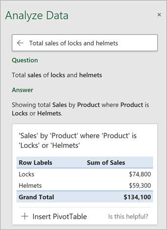 Các ý tưởng trong Excel trả lời câu hỏi về số lượng khóa hoặc mũ bảo hiểm đã được bán.