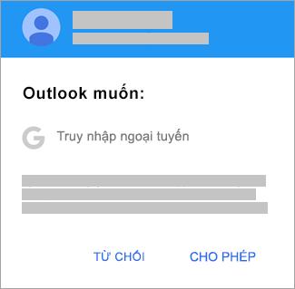 Nhấn vào Cho phép để cấp cho Outlook quyền truy nhập ngoại tuyến.