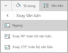 Xoay văn bản bảng Windows Mobile