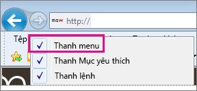 Hiện thanh menu trong Internet Explorer