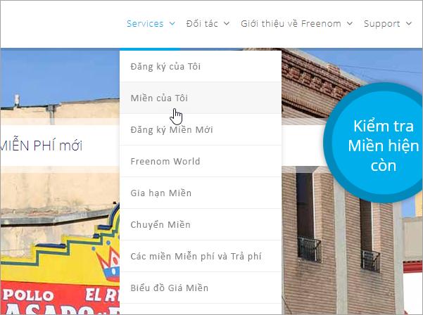 Freenom chọn dịch vụ và tên miền của tôi