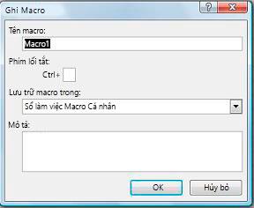 Hộp thoại Ghi Macro