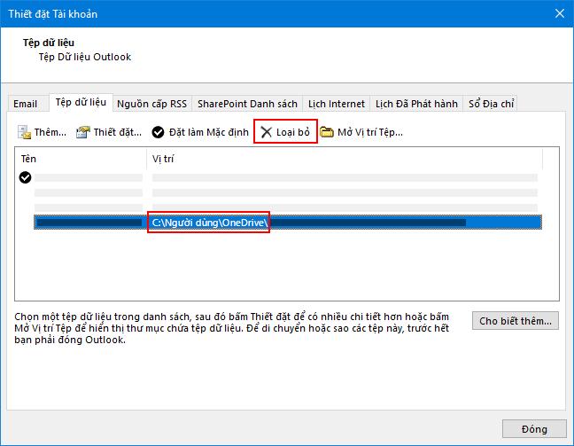 Hộp thoại tệp dữ liệu Outlook