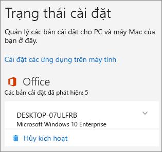Hiển thị lệnh Hủy kích hoạt cho bản cài đặt Office 365 dành cho doanh nghiệp