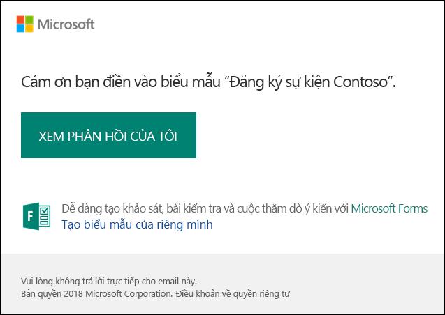 Gửi email thông báo xác nhận và nối kết đến phản hồi trong Microsoft Forms