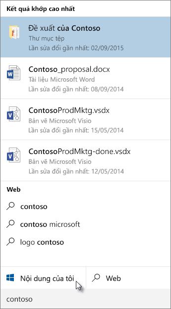 Tìm kiếm trong Bàn làm việc của Windows