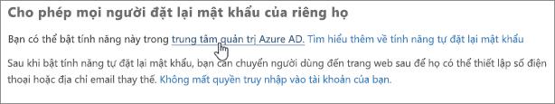 Chọn liên kết để đi đến trung tâm quản trị Azure.
