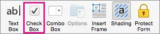 Bấm vào hộp kiểm để chèn hộp kiểm mà bạn có thể đánh dấu trong Word.