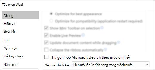 Hộp thoại tùy chọn tệp > Hiển thị thu gọn hộp tìm kiếm của Microsoft theo mặc định tùy chọn.