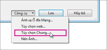 Danh sách Công cụ trong hộp Lưu Như
