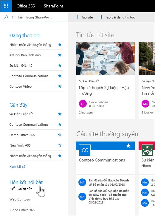 Danh sách nối kết trên trang chủ của SharePoint online
