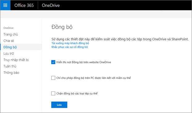 Tab Đồng bộ trong Trung tâm quản trị OneDrive