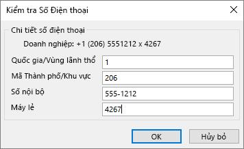 Trong Outlook, trên thẻ liên hệ, bên dưới số điện thoại, chọn một tùy chọn và hộp thoại kiểm tra số điện thoại, nếu cần Cập Nhật.
