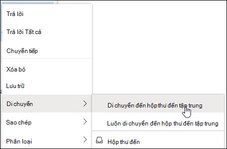 Ảnh chụp màn hình hiển thị menu chuột phải bằng cách di chuyển đến hộp thư đến ưu tiên và luôn di chuyển đến các tùy chọn hộp thư đến ưu tiên.