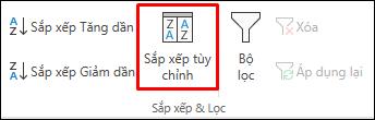 Các tùy chọn Sắp xếp tùy chỉnh của Excel trên tab Dữ liệu