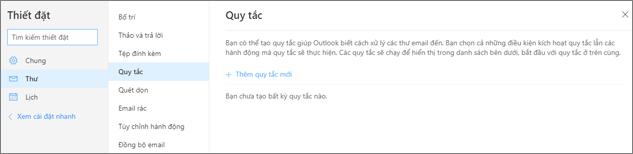 Một ảnh chụp màn hình hiển thị trang quy tắc trong thư trong thiết đặt cho Outlook.com.
