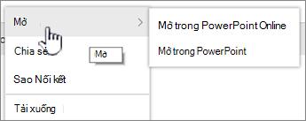 Tệp hình elip menu với mở được tô sáng
