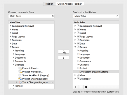 Bấm theo dõi thay đổi (thừa tự) và sau đó bấm > để di chuyển tùy chọn trong tab xem lại