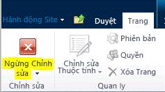 Nút Ngừng Sửa trên tab Trang