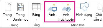 Ảnh chụp màn hình của tùy chọn Chèn Hình ảnh trên menu Chèn trong Publisher.