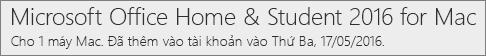 Cách xuất hiện của phiên bản Office 2016 cho máy Mac trên Office.com/myaccount