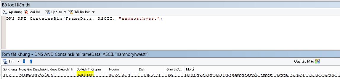 """Kết quả Netmon bổ sung được lọc với DNS AND CONTAINSBIN(Framedata, ASCII, """"namnorthwest"""") cho thấy Độ lệch Thời gian rất thấp giữa yêu cầu và phản phồi."""