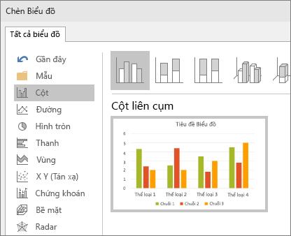 Hiển thị lựa chọn biểu đồ cột trong Powerpoint