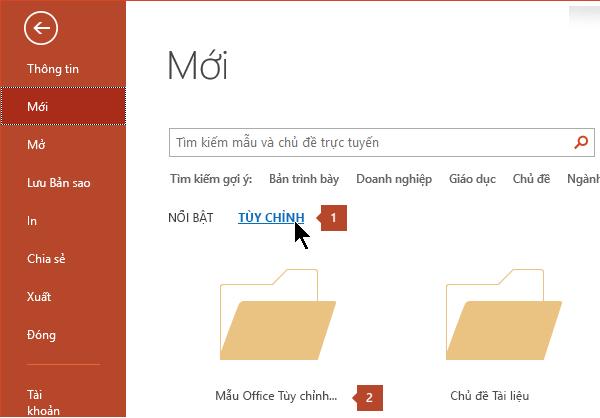Bên dưới Tệp > mới, hãy bấm tùy chỉnh rồi mẫu Office tùy chỉnh.
