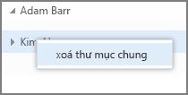 Tùy chọn bấm chuột phải Xóa thư mục chia sẻ trong Outlook Web App