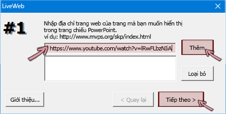 Dán địa chỉ https của video mà bạn muốn chèn