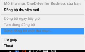 Ảnh chụp màn hình lệnh Ngừng đồng bộ thư mục khi bấm chuột phải vào máy khách đồng bộ OneDrive for Business