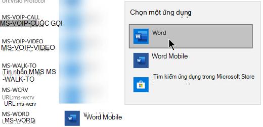 Chuyển đổi từ Word Mobile sang Word cho giao thức mở mẫu từ web.