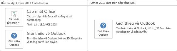 Đồ họa cho biết cách bạn nhận biết bản cài đặt Office 2013 là click-to-run hoặc trên nền MSI