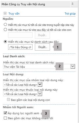 Danh sách thuộc tính Phần Web Truy vấn Nội dung với ba hộp chú thích